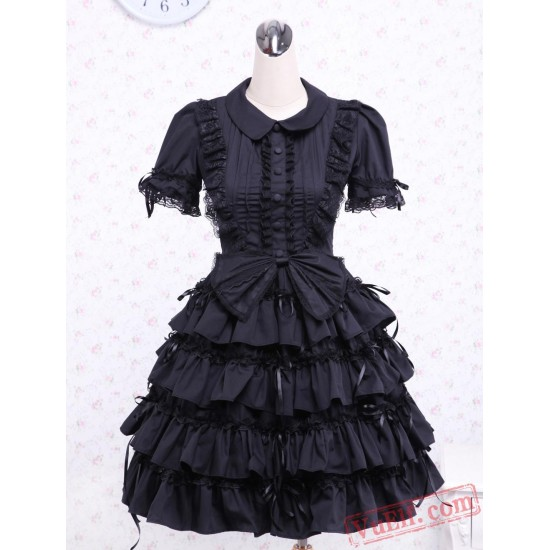 Black Turndown Collar Multi-layer Cotton Gothic Lolita Dress