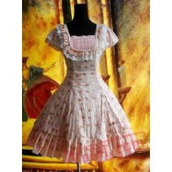 Pink Sweet Floral Camouflage Lolita OP Dress