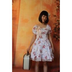 Printed Flower Cotton Lolita Dress Short Sleeves