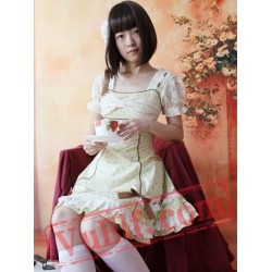 Light Yellow Flowers Bows Country Lolita Dress