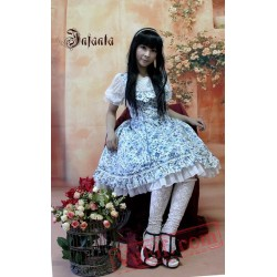 Royal Blue Rose Flowers Ruffles Lolita One Piece Dress