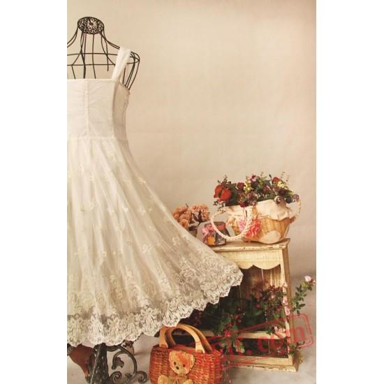 Long White Soft Embroidery Lolita Dress