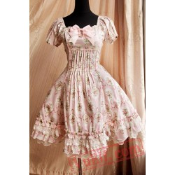 Pink Circle Flowers Lolita Short Sleeves Dress