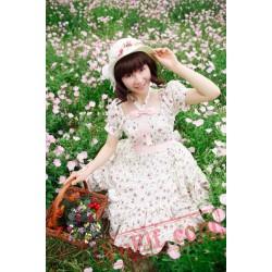 Pink Flowers Bow Lolita OP Dress