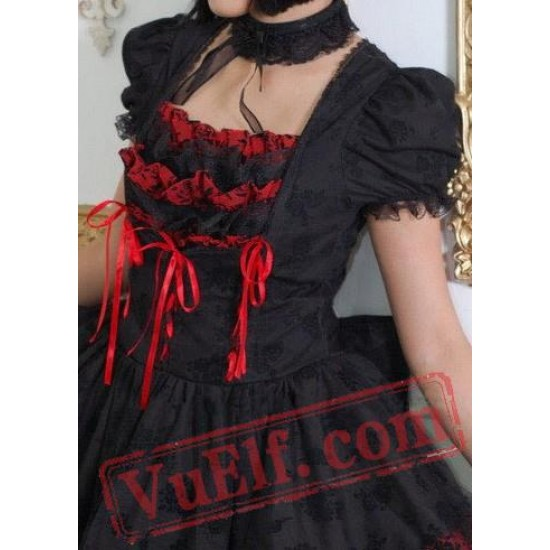 Black and Red Gothic Burlesque Prom Party Dress