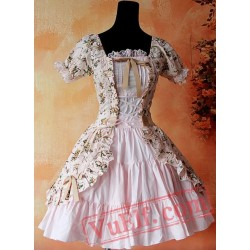 Pink Printed Flowers Lolita One Piece Dress