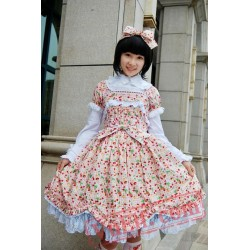 Sweet Cherry Cotton Lolita OP Dress Three Colors