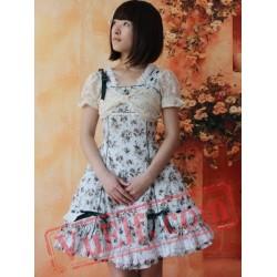 Tea Green Flowers Bows Lolita Dress
