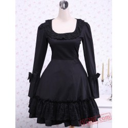 Black Long Sleeves Cross Straps Cotton Classic Lolita Dress