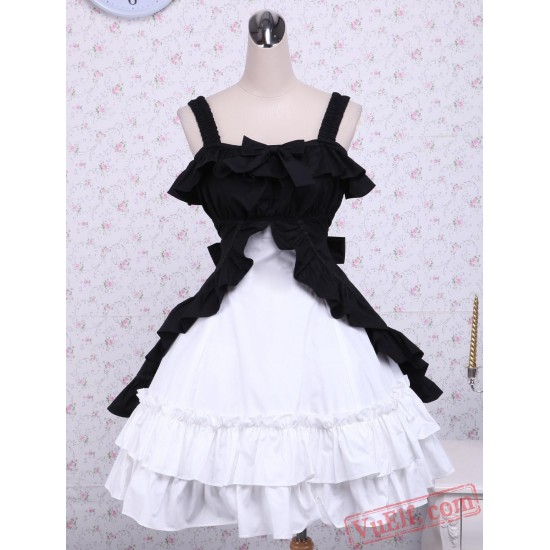 Cotton Black And White Classic Lolita Dress