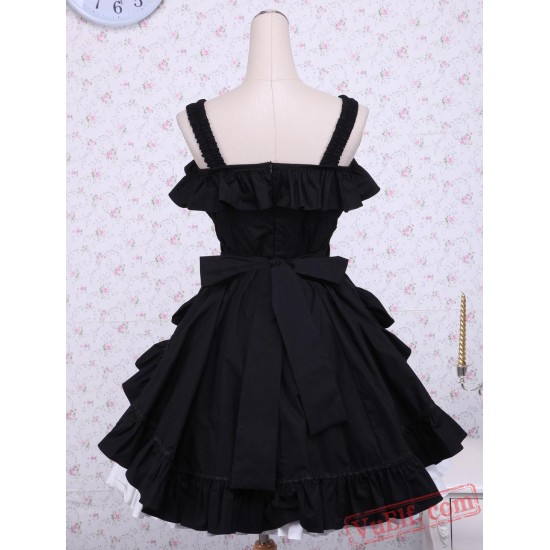 Cotton Black And White Classic Lolita Dress