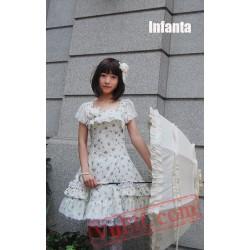 White Cotton Lolita Dress with Blue Flowers Prints