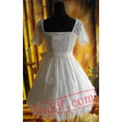 White Gothic Lolita Dress Multiple Bows Lace