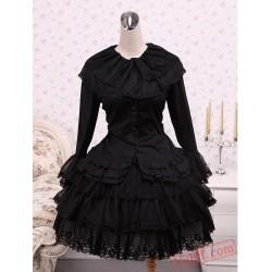 Cotton Black Cosplay Lolita Dress