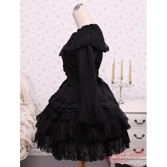 Cotton Black Cosplay Lolita Dress