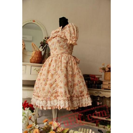 Yellow Floral Cotton Lolita One Piece Dress