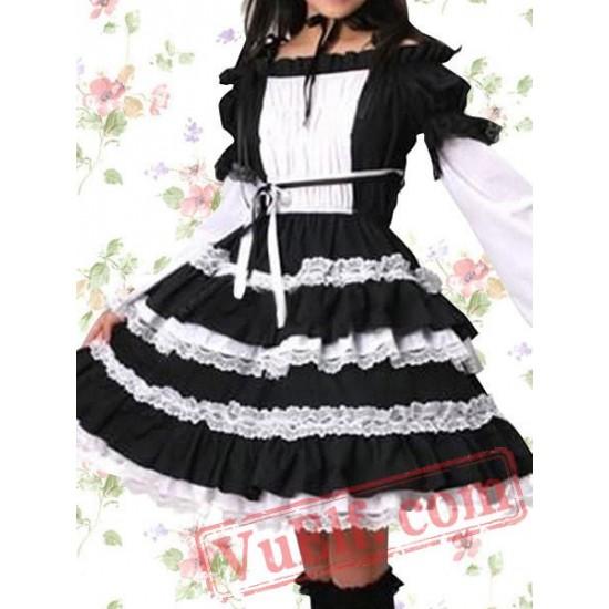 Cotton Black Ruffle Lace Cosplay Lolita Dress