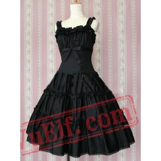 Cotton Black Ruffles Classic Lolita Dress