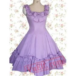 Cotton Puple Ruffles Sleeveless Classic Lolita Dress