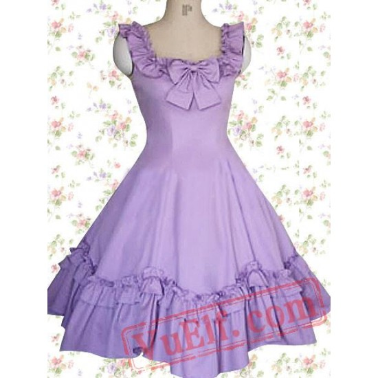 Cotton Puple Ruffles Sleeveless Classic Lolita Dress