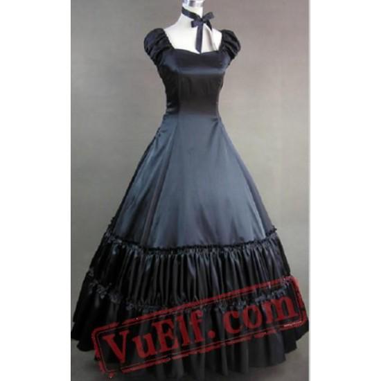 Black Gothic Lolita Cosplay Ball Gown Wedding Prom Dress