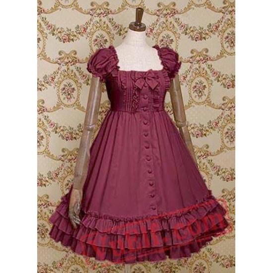 Cuff Sleeves Single Breasted Ruffled Cotton Lolita Dress