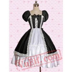 Classic Cotton Black And White Short Sleeves Gothic Lolita Dress