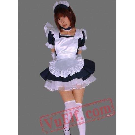 Sexy Mini Satin Black and White Cosplay Lolita Dress