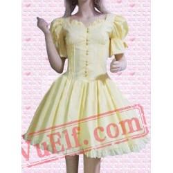 Yellow Puff Sleeves Cosplay Lolita Dress