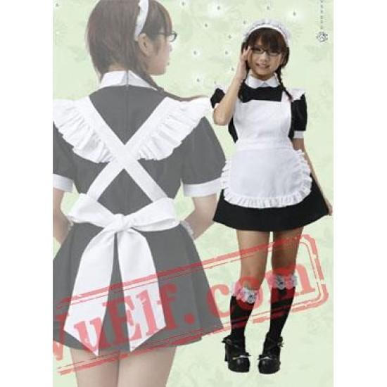White And Black Cosplay Cotton Lolita Dress
