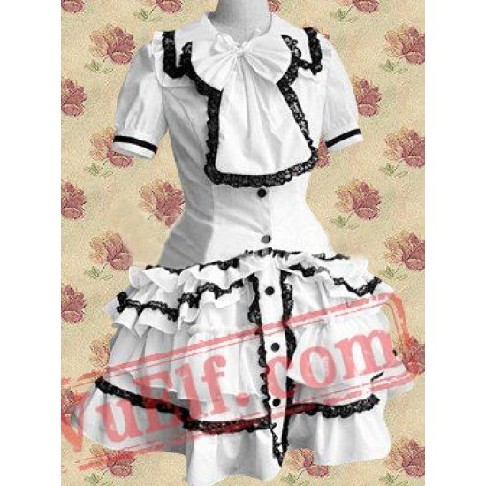 White Gothic Short Sleeves Lace Cotton Cosplay Lolita Dress