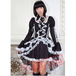 Black and White Gothic Goth Tea Length Short Wedding Dress