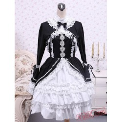 Cotton Black And White Lace Gothic Lolita Dress