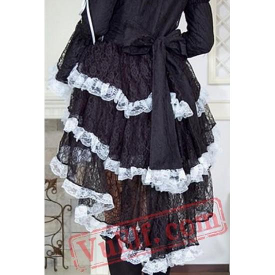 Black and White Gothic Goth Tea Length Short Wedding Dress