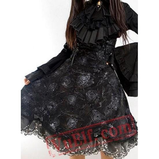 Black Gothic Lolita Long Wedding Dress