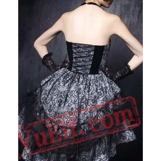 Black and White Gothic Lolita Strapless Corset Wedding Dress