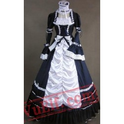 Black and White Long Sleeve Goth Cosplay Wedding Dress