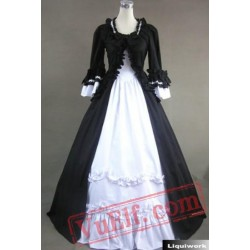 Black and White Long Sleeve Winter Victorian Gothic Wedding Dres