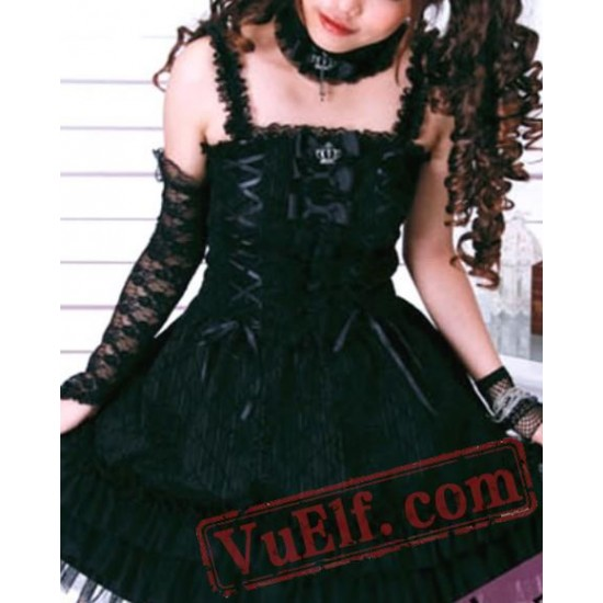 Black Gothic Punk Clothing Prom Cocktail Party Dress