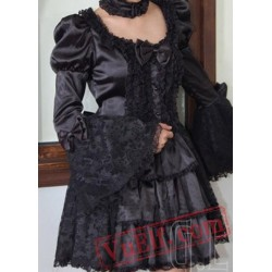 Black Goth Gothic Punk Short Satin Long Sleeve Wedding Dress