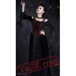 Black Goth Gothic Vampire Corset Maxi Long Kimono Wedding Dress