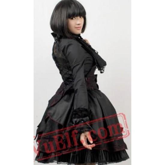 Black Halter Beaded Puff Short Punk Goth Prom Cocktail Dress