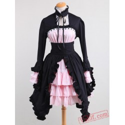 Black And Pink Cotton Gothic Lolita Dress