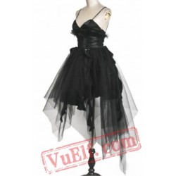 Black Gothic Burlesque Corset Wedding Cocktail Prom Dress