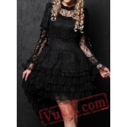 Black Lace Gothic Lolita Short Wedding Dress