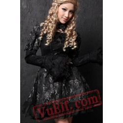 Black Lace Long Short Sleeve Gothic Wedding Dress