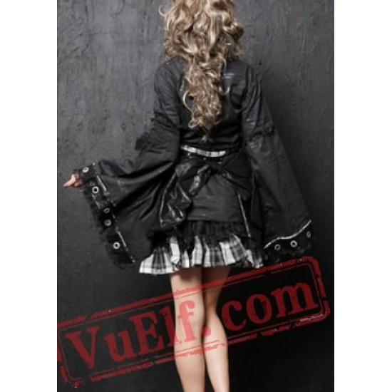 Black Plaid Japanese Gothic Cosplay Dress