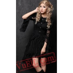 Black Lace Long Sleeve Goth Wedding Cosplay Shirt Dress
