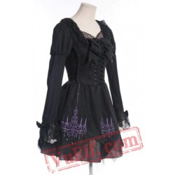 Black Long Sleeve A Line Victorian Gothic Wedding Party Dress