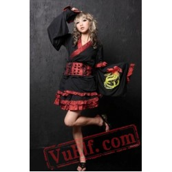 Black Red Japanese Gothic Geisha Cosplay Dress
